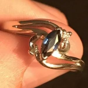 -14K-Solid-White-Gold Sapphire-and-Diamond